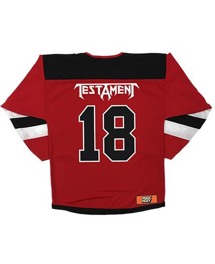 TESTAMENT 'PUCKS OF BLACK' hockey jersey in red, white, and black back view