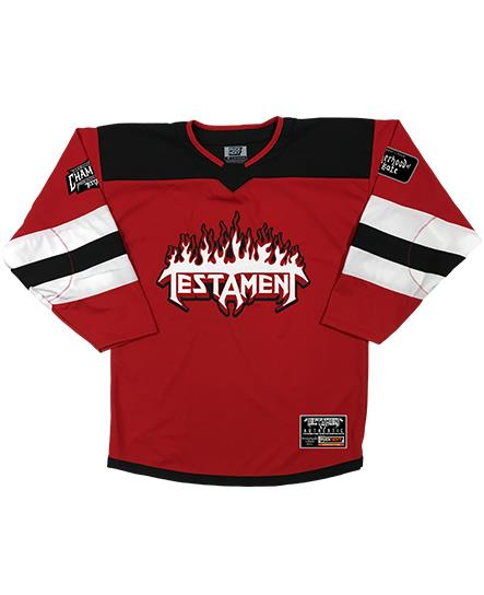 TESTAMENT 'PUCKS OF BLACK' hockey jersey in red, white, and black front view