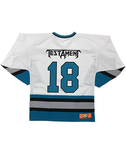 TESTAMENT 'PUCKS OF BLACK' hockey jersey in white, teal, grey, and black back view