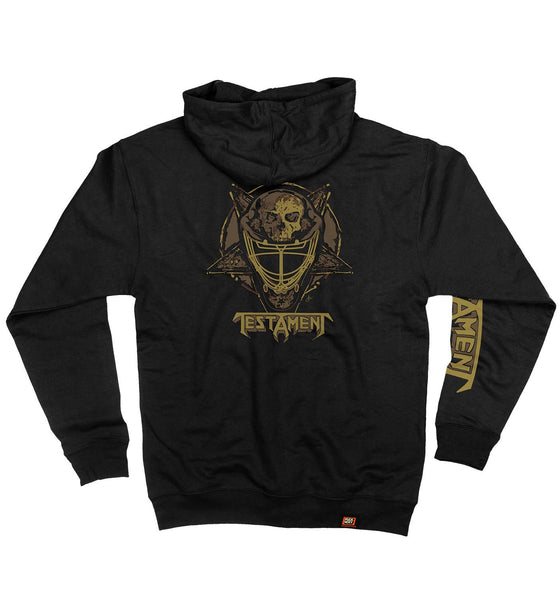 TESTAMENT 'TESTA MASK' full zip hockey hoodie in black back view
