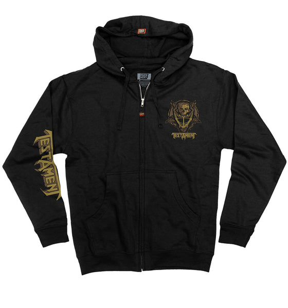 TESTAMENT 'TESTA MASK' full zip hockey hoodie in black front view