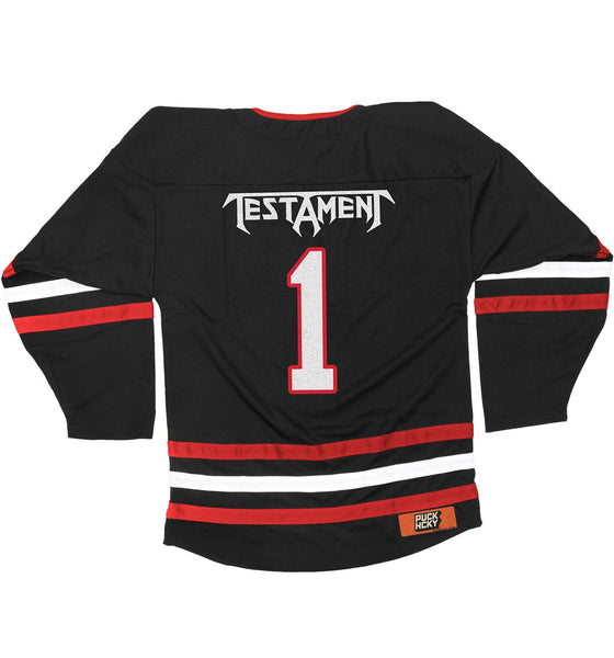 TESTAMENT 'THE LEGACY' hockey jersey in black, red, and white back view