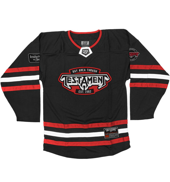 TESTAMENT 'THE LEGACY' hockey jersey in black, red, and white front view