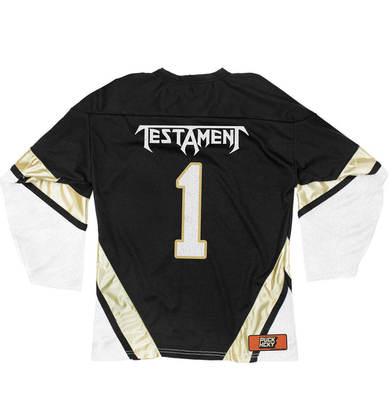 TESTAMENT 'THE LEGACY' hockey jersey in black, white, and vegas back view