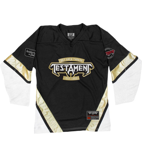 TESTAMENT 'THE LEGACY' hockey jersey in black, white, and vegas front view