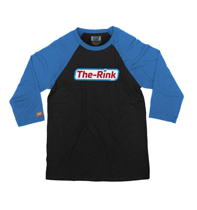 THE RINK 'BASIC LOGO' hockey raglan t-shirt in black with royal blue sleeves
