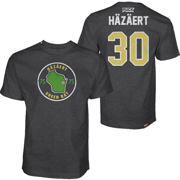 THOM HAZAERT 'GREEN BAY 30' short sleeve hockey t-shirt in charcoal heather front and back view