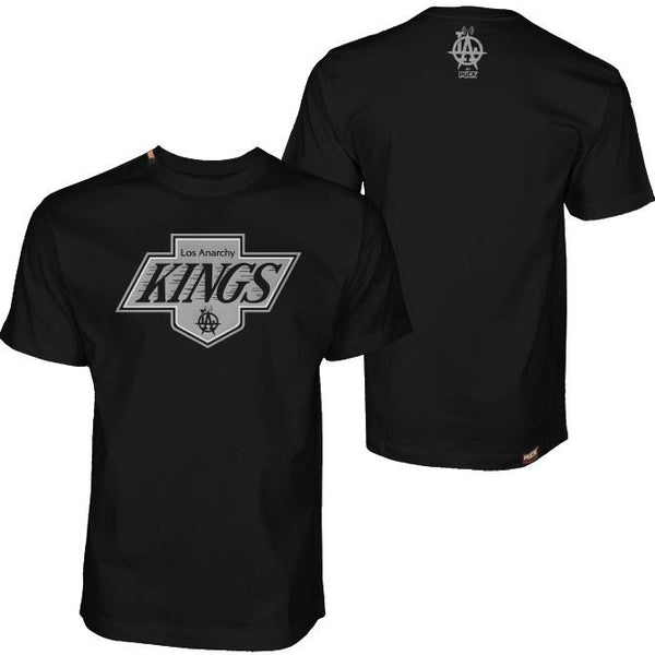 LOS ANARCHY 'KINGS' short sleeve hockey t-shirt in black front and back view