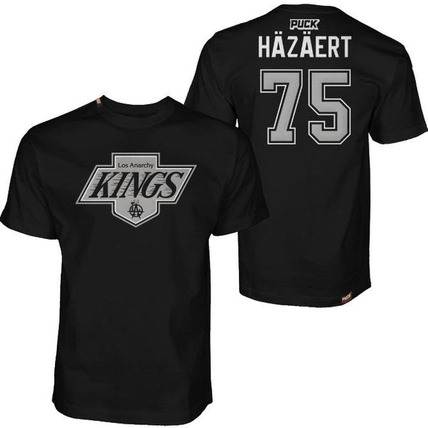 THOM HAZAERT 'LOS ANARCHY KINGS - HAZAERT' short sleeve hockey t-shirt in black front and back view