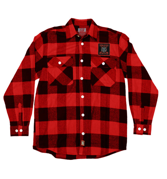 THOM HAZAERT 'SKATE WITH THE DEVIL' hockey flannel in red plaid