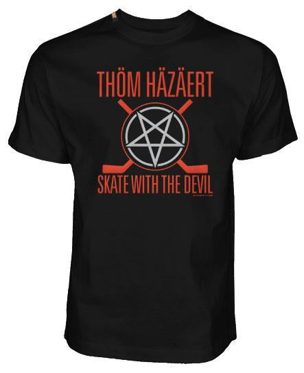 THOM HAZAERT 'SKATE WITH THE DEVIL' short sleeve hockey t-shirt in black
