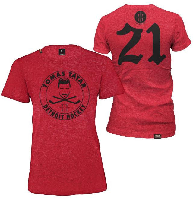 TOMAS TATAR 'DETROIT HOCKEY' women's short sleeve hockey t-shirt in vintage red front and back view
