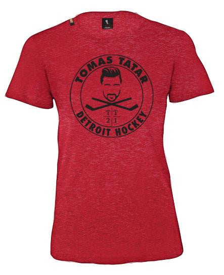 TOMAS TATAR 'DETROIT HOCKEY' women's short sleeve hockey t-shirt in vintage red front view