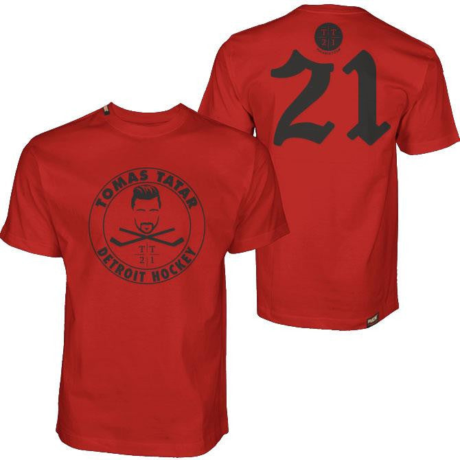 TOMAS TATAR 'DETROIT HOCKEY' short sleeve hockey t-shirt in red front and back view