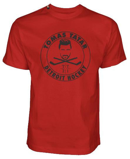 TOMAS TATAR 'DETROIT HOCKEY' short sleeve hockey t-shirt in red front view