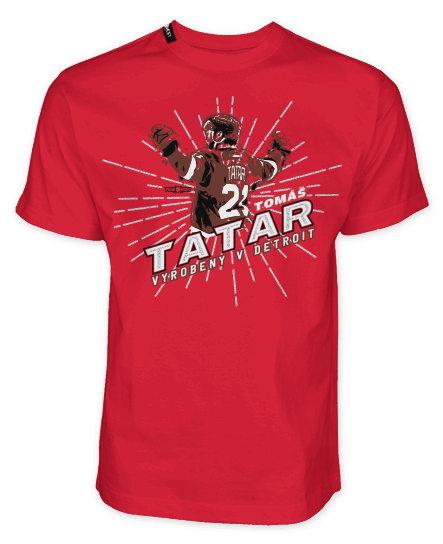 "TOMAS TATAR ""MADE IN DETROIT"" short sleeve hockey t-shirt in red"