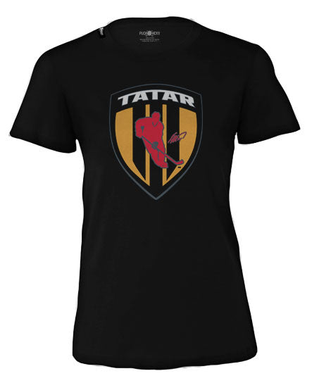 TOMAS TATAR 'SHIELD' women's short sleeve hockey t-shirt in black