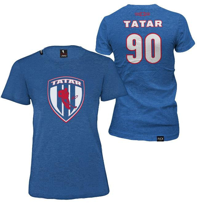 TOMAS TATAR 'SLOVAK SHIELD' women's short sleeve hockey t-shirt in royal heather front and back view