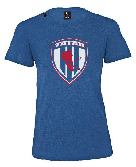 TOMAS TATAR 'SLOVAK SHIELD' women's short sleeve hockey t-shirt in royal heather front view