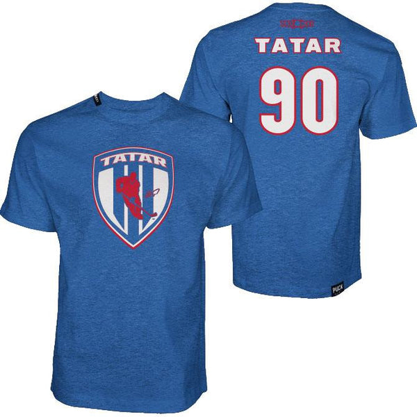 TOMAS TATAR 'SLOVAK SHIELD' short sleeve hockey t-shirt in royal heather front and back view