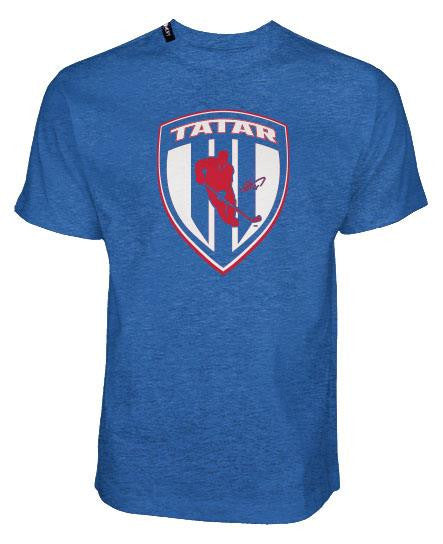 TOMAS TATAR 'SLOVAK SHIELD' short sleeve hockey t-shirt in royal heather front view