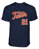 TOMAS TATAR 'TATTER UP' short sleeve hockey t-shirt in midnight navy