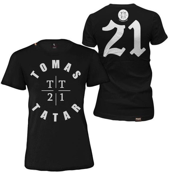 TOMAS TATAR 'TT21' women's short sleeve hockey t-shirt in black front and back view