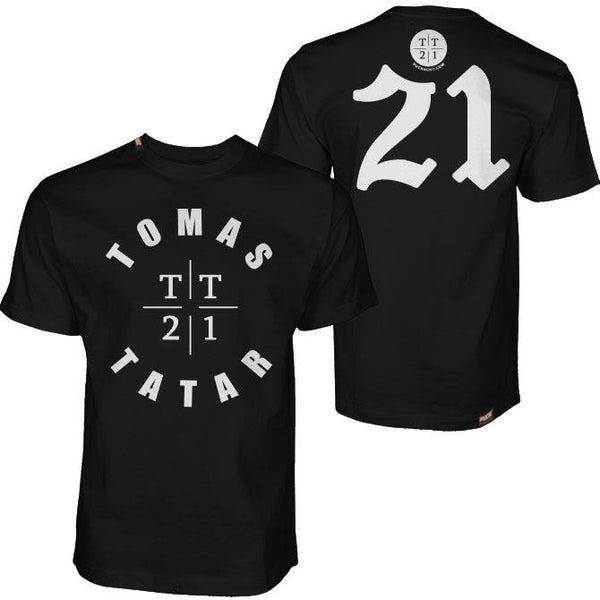 TOMAS TATAR 'TT21' short sleeve hockey t-shirt in black front and back view