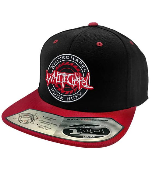 WHITECHAPEL 'OFFICIAL PUCK' snapback hockey cap in black with red brim