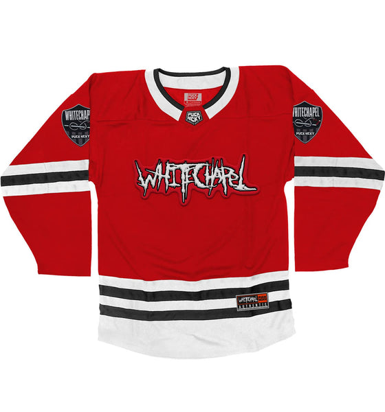 WHITECHAPEL 'REPROGRAMMED TO SKATE' deluxe hockey jersey in red, white, and black front view