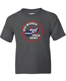 WMSHA 'LOGO' youth short sleeve hockey t-shirt in charcoal heather front view