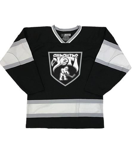 ALL HAIL THE YETI 'ABOMINABLE' hockey jersey in black, white and grey front view