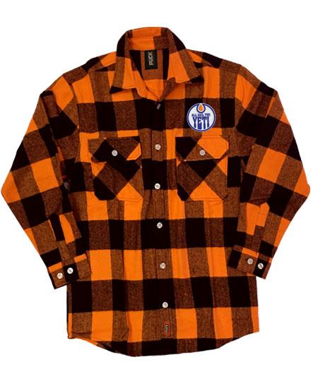 ALL HAIL THE YETI 'OIL HAIL THE YETI' hockey flannel in orange plaid