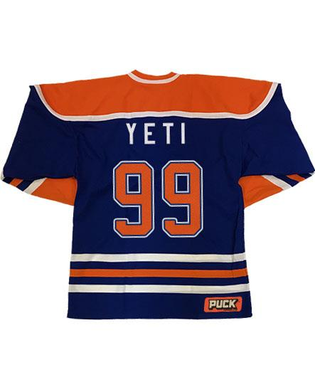 ALL HAIL THE YETI 'OIL HAIL THE YETI' hockey jersey in royal blue, orange, and white back view