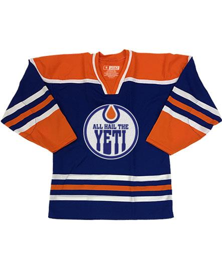 ALL HAIL THE YETI 'OIL HAIL THE YETI' hockey jersey in royal blue, orange, and white front view