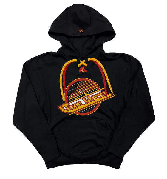 ALL HAIL THE YETI 'SASQUATCH SKATE' pullover hockey hoodie in black with red and gold laces with black stripes