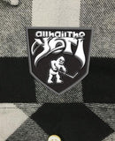 ALL HAIL THE YETI 'ABOMINABLE' hockey flannel in grey plaid close up patch