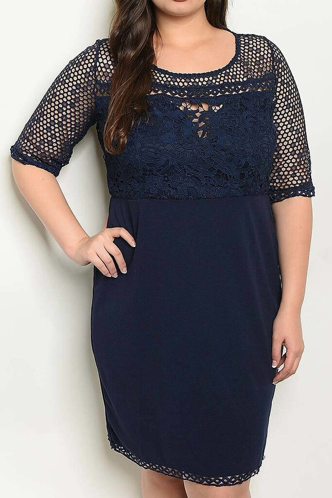 Navy Lace Fitted Dress XL/1X
