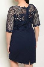 Load image into Gallery viewer, Navy Lace Fitted Dress XL/1X