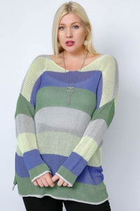 Blue ColorBlock Sweater XL/1X