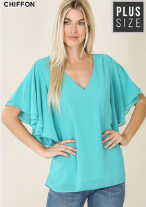 Flutter Sleeve Top 2X