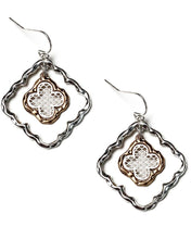 Load image into Gallery viewer, TWO TONE MATTE FILIGREE LAYERED DANGLE EARRINGS