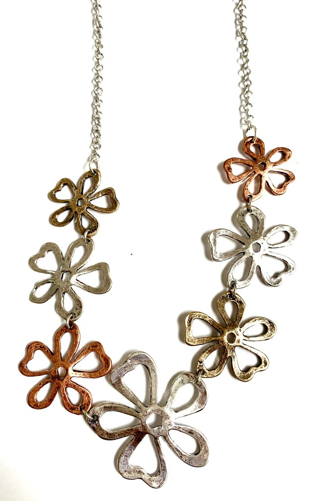 3 tone flower necklace with matching earrings