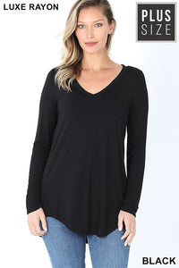 PLUS LUXE RAYON LONG SLEEVE V-NECK HI-LOW HEM TOP XL/1X