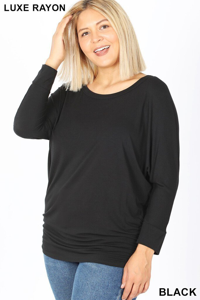 Boat Neck Bat Wing 3/4 sleeve with ruched side top xl/1x
