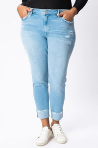 Ankle Hem Skinny Jean light wash xl/1x