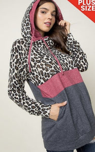 Leopard 2 Layer Hoddie with Zipper Front 3X