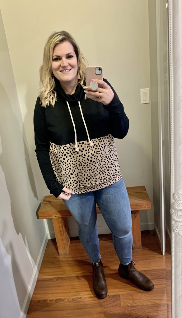 Black Solid Leopard Cowl Neck Sweater 2x