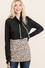 Load image into Gallery viewer, Black Solid Leopard Cowl Neck Sweater 2x