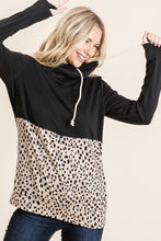 Load image into Gallery viewer, Black Solid Leopard Cowl Neck Sweater 3x